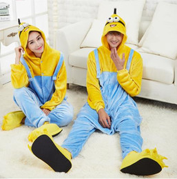 Wholesale Despicable Pyjamas - Despicable Me Dave Coral Fleece jumpsuits Cartoon Despicable Me winter Warm Pyjamas Tracksuit Costume adult cosplay onesies