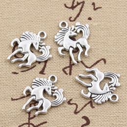 Charmes de licorne en Ligne-120pcs Charms Licorne 19 * 25mm Antique, en alliage de zinc en forme de pendentif, Argent tibétain Vintage, bricolage pour bracelet collier