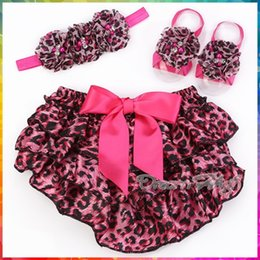 Wholesale Leopard Sandals Kids - Wholesale-Animal Girl ruffle bloomers baby headband Sandal Set,Newborn photography prop Leopard pants,kids Diaper Cover shorts #3T0202