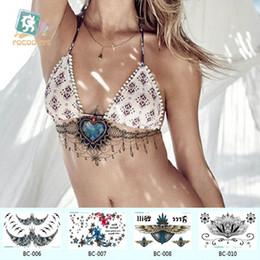 Desenhos de laço de tatuagens on-line-24 * 13.8 cm tatuagens falsas Temporárias À Prova D 'Água tatuagem adesivos body art Pintura para decoração do partido etc grande rendas peito de graça design