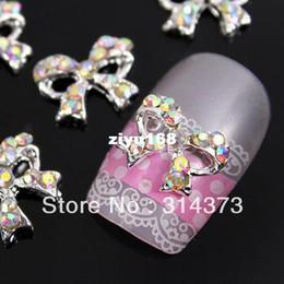 Wholesale Black 3d Bows Nails - 100PCS LOT Bling Charm AB Crystal Rhinestones Boutique Bow Bowtie 3D Alloy Decor Salon Acrylic Nail Art Tips Design Decoration