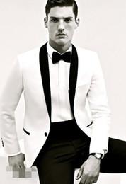 Wholesale Men Slim Fit Suit Tweed - Custom Made slim fit men suits peak Lapel groom Tuxedos white jacket and black pant Men 2018 groomsmen suits one button mens (Jacket+Pant)