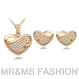 Wholesale 18kgp Gold Necklace - New Arrival Popular Full Rhinestone Peach Heart Necklace Earrings Set 18KGP White Gold Women Jewelry Sets Free Shipping 016