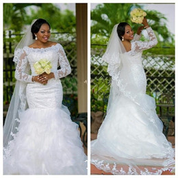 Wholesale Sheer Ankle Length Robe - Modest Long Sleeves Wedding Dresses Plus Size Lace Mermaid Arabic 2015 Beaded White African Bridal Gowns Made In China Robe Scoop Appliques