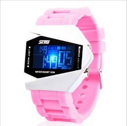 Wholesale Silicon Brand Wrist Watches - Hot SKmei wrist watch Airplane shape Individuality Creative Silicon watches LED 5 colors Noctilucent Brand Upscale Waterproof Sports watches