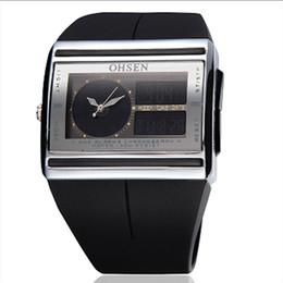 Wholesale Mens Pc Quartz Watch - New OHSEN Digital LED Alarm Date Week Black Rubber Sport Waterproof Mens Wrist Watch PE21 H Quartz ONE PCS Analog-Digital watch FOR MAN