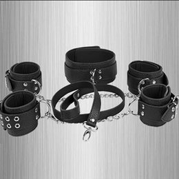 Wholesale Slave Gear - Dog Slave Wrists Ankles Collor With Leash Restraint Bondage Gear High Quality PVC Leather Master Slave Role Play Product