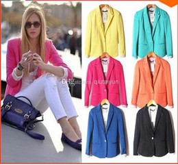 Wholesale Women Blazers Wholesale - 2013 Z new hot stylish and comfortable women's Blazers Candy color lined with striped Z suit WY265