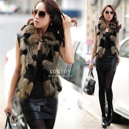 Wholesale New Womens Faux Fox Fur Vest Ladies High Quality Fur Coat Vest Jacket Soft Sleeveless Slim Faux Fur Waistcoat WT53