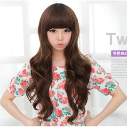 "Wholesale Kanekalon Hair Wigs - Sweet Cute Dark Brown Long Curly Big Wave Synthetic Full Wigs with Neat Bangs,New Arrival 70cm-28"" Ladies' Long Wavy Kanekalon Hair Periwigs"