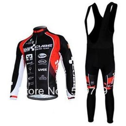 Wholesale Cube Black Thermal - new style NEW ITEMS CUBE black team Winter Thermal Fleece Long Sleeved Cycling Jersey  Cycling wear + Bib pants.826