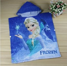 Wholesale Hooded Robes For Children - New snow Romance frozen towels hooded towels for children free shipping