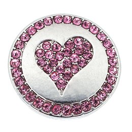 Wholesale Metal Charm Pins - NSB2216 Hot Sale Snap Buttons Jewelry Pin Red Heat DIY Charms Crystal Snaps Silver Metal Buttons