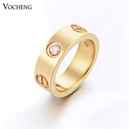 Wholesale Gold Steel Jewelry - Non-fading Stainless Steel Brand Ring Fashion 3 Colors with CZ Stone (VR-048) Vocheng Jewelry
