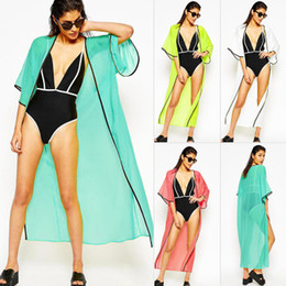 Wholesale Free Sunscreen - 2017 New Long Chiffon Bikini Cover-Ups Cardigan Beachwear Women Short Sleeve Beach Kimono Sunscreen Cover-Up Dress ZZNF0219