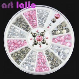Wholesale 3d Nail Art Deco - Wholesale- 3D Nail Art Rhinestones Crystal Gems White Pink Grey Glitters DIY Deco Nail Tips Design Tool #61