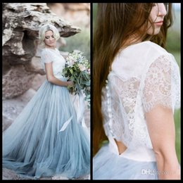 Wholesale Plus Size Fairy - 2018 Fairy Beach Boho Lace Wedding Dresses Jewel Neck A Line Soft Tulle Cap Sleeve Backless Light Blue Skirts Plus Size Bohemian Bridal Gown
