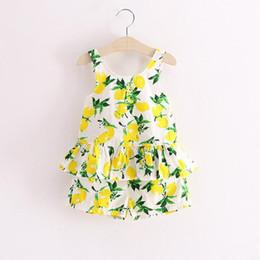Wholesale Girl Children Knickers - 2017 new summer girls Korean children summer female baby small fresh lemon skirt & knickers two suit 5set lot