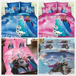 Wholesale Pink Full Comforter - Cartoon Frozen Princess Elsa Duvet Comforter Cover Bed Sheet Pillowcase Set