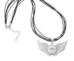Wholesale 925 Platinum Chain - Noosa snap button Angel wings Necklaces Pendant Leather 925 silver plated platinum diy 18MM chunk Snap button Jewelry Ginger snaps 10pcs