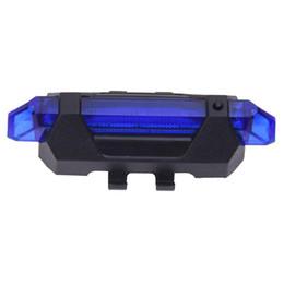 All'ingrosso- 5 LED luci posteriori posteriori per bicicletta Flash USB ricaricabile per la sicurezza della bicicletta Lampada impermeabile, nero + blu supplier led tail bike light blue da azzurro della bicicletta della coda principale fornitori
