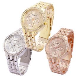 Wholesale Geneva Double Watch - Luxurious Luxurious Watches Double Rhinestone Alloy Geneva Watch Quartz Wristwatch Women's Fashion Casual Gold Digital Watch