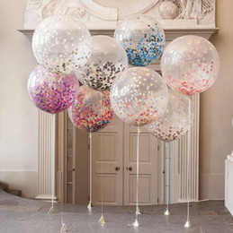 Wholesale Clear Latex Balloons - 10pc 12inch 30cm Clear Confetti Balloon Latex Confetti Ballon Wedding Decoration Happy Birthday Balloons Party Supplies