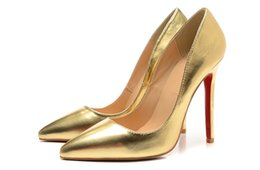 Wholesale Gold Glitter Wedding Shoes - Gold Leather Red Bottom High Heels Women Shoes 12cm High Heel Ladies Female Low Footwear Pumps Wedding Shoes Sexy Party Shoes