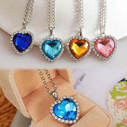 Wholesale Titanic Blue Heart - New Titanic Heart Of Ocean Crystal Rhinestone Heart Sharped Pendant Necklace Blue Champagne Pink Fine Jewelry NL-0485