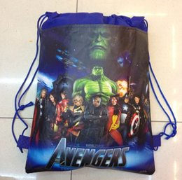 Wholesale Drawing Toys - 2015 avengers alliance children backpack toy bags,draw string school bag,kids cartoon backpacks shopping bags Draw string bag .12pcs SB1