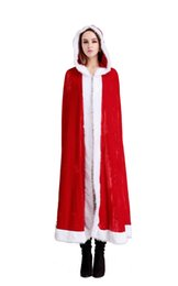 Wholesale Santa Dress Adult - Christmas Adults Santa Claus Cloak Cosplay Sexy Karneval Clothes Women Dress Cosplay Costumes For Hooded Costumes Velvet Blend Cape Red