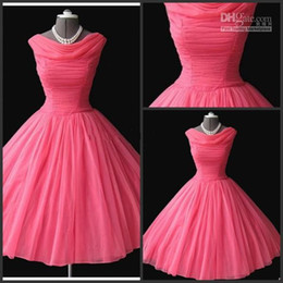 Wholesale Sexy Dresses Puffy Shoulder - 2015 Real Sample 1950's Vintage Bateau Neckline Tea-length Puffy Ball Gown Water Melon Chiffon Short Prom Dresses Evening Gowns high quality