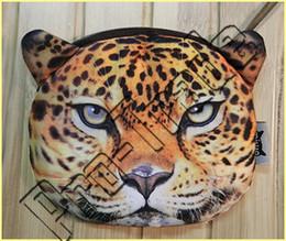 Wholesale Fabric Animal Coin Purses - HOT!! Mini cute Animal's Head Shape Bag Wallet Coin Purses Billfold Burse with Zipper Printing Tiger leopard lion 00696