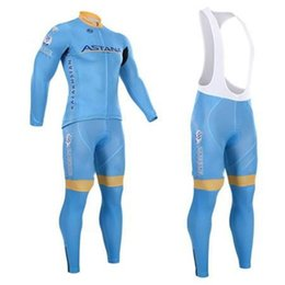 Wholesale Cycling Sleeves Winter Wear - Pro team Astana cycling jersey Quick Dry winter thermal (fleecce) bicycle clothing breathable long sleeve cycling wear+bib pants