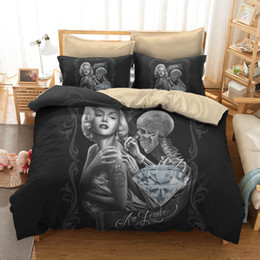 Decorazioni per la camera da letto Sexy Marilyn Monroe 3D Skull Print Set biancheria da letto completa / Queen / King / California King Size 3PCS Copripiumino 2 * Federe da