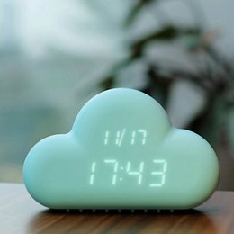 Wholesale Led Digital Wall Clocks - 2015 Original Muid Design Cloud Digital Alarm Clock power supply Mint Voice-activated LED Wall Clock blacklight for Home Office decoration