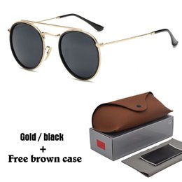 Wholesale Red Hot Eyes - Hot Classic sunglasses for women metal frame double Bridge sun glasses Steampunk Goggle 11 Colors With free brown cases and box