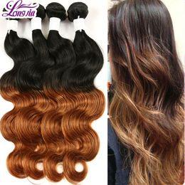 Wholesale Two Cheap Bundles Weave - 8a Longjia Hair Products Cheap Virgin Brazilian Body Human Wave 4 Bundles,Two Tone Brazilian Weave Hair ombre hair extensions Free shiping