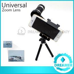 Wholesale Iphone Camera Tripods - 1x Extra 8x Zoom Telephoto Phone Lens For iPhone 6 6plus 5s 5 4s 4 Samsung S6 S5 Optical Telescope Camera Kit + Mini Tripod Global Post