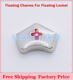 Wholesale Hot For Nurse - Wholesale-Hot Sale Enamel White Nurse Hat Floating Charms For Living Memory Glass Lockets,no Locket FC290
