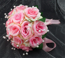 Wholesale Beach Pink Bouquet - Simple Cheap Pink Color Fleurs Bouquet Mariage Ramo De La Boda Beach Wedding Bride Bridesmaid Flowers Accesorios Para Novias