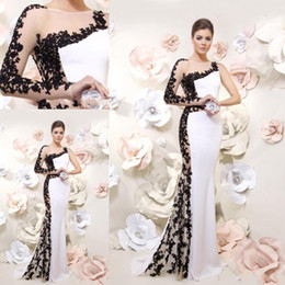 Canada Black White Formal Gowns One Sleeve Supply, Black White ...