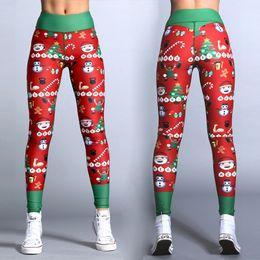 Wholesale Pencil Cartoon Character - Christmas Panelled Letter Print Character Cartoon Leggings Elastic Waist Active Sport Pants Chic Feminas Pencil Pants Bottoms