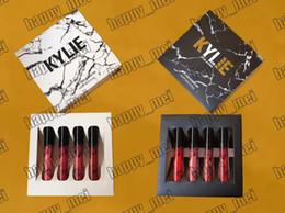 Wholesale White Lipsticks - Factory Direct DHL Free Shipping New Kylie Cosmetics Black White Box Kylie Matte Liquid Lipstick & Gloss!1 Set = 4 Piece