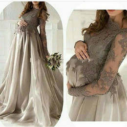 Wholesale Elegant Pregnant Women - 2016 Elegant Maternity Long Sleeves Dresses Evening Wear Jewel Lace Applique Organza Skirt Plus Size Pregnant Women Prom Gowns Gray Vestidos