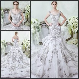 Wholesale Gorgeous Beaded Muslim Wedding Dress - 2016 New Gorgeous Full Beaded Crystal Mermaid Wedding Dresses Vintage Scoop Sleeveless Tulle Appliques Royal Cathedral Train Wedding Dress