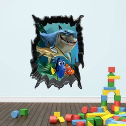 Wholesale Decal Shark - HOT SALE 1438 new hot shark underwater world children's room bedroom wall stickers removable waterproof wholesale trade