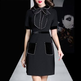 Wholesale Mini Dresses Designer - Brand Designer Women Luxury Beaded Dresses 2017 Autumn Winter Fashion Pearl Embelished Bowknot Turn Down Collar Party Cocktail Dresses