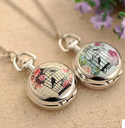 Wholesale Flower Birds - Promotional price!! Silver Birdcage Bird Cage Flower Quartz Pocket Watch Pendant Necklace New Free