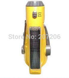Wholesale Solar Dynamo Charger Flashlight - New Solar Dynamo Powered Radio Hand Crank AM FM LED Flashlight Phone Charger Free Shipping flashlight battery charger